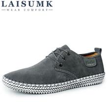 LAISUMK Brand Handmade 100% Genuine Suede Leather Men Casual Shoes Luxury Reto Formal Leisure Dress Flat Oxfords Shoes Size 48 стоимость