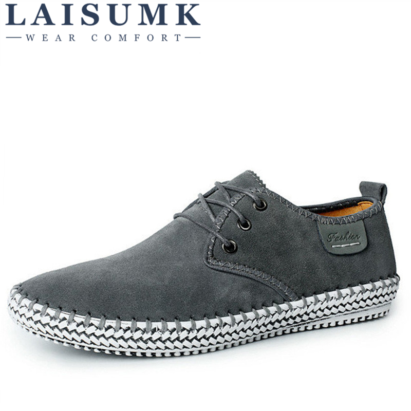 LAISUMK Brand Handmade 100% Genuine   Suede     Leather   Men Casual Shoes Luxury Reto Formal Leisure Dress Flat Oxfords Shoes Size 48