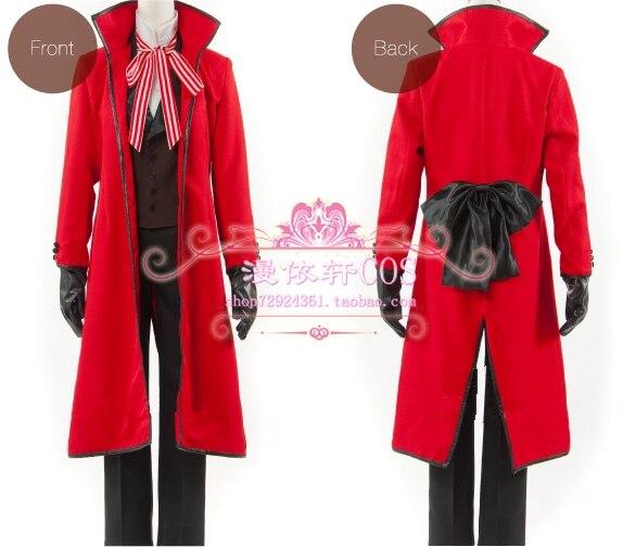 Black Butler Shinigami Grell Sutcliff Kuroshitsuji Red Death Cosplay CostumeV.58
