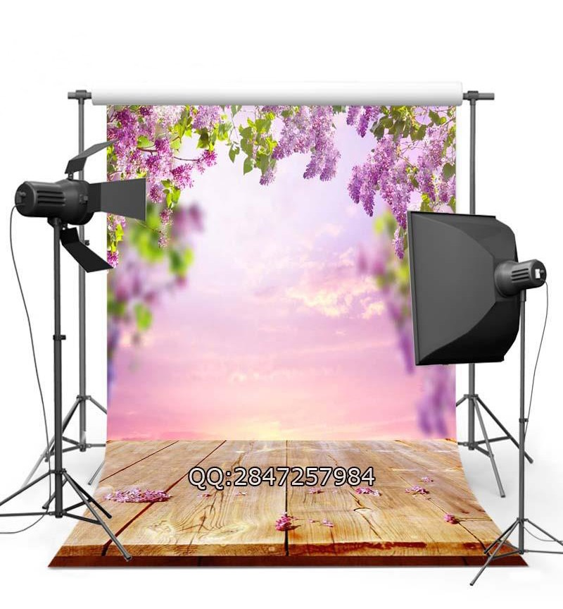 Spring Pink Flowers Vintage Floral  Wood Floor backdrop Vinyl cloth Computer printed wall  photography studio background white rustic old wood plank texture backdrop vinyl cloth computer printed party photography studio background