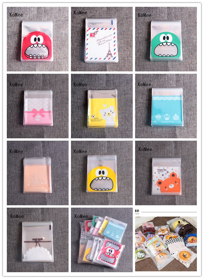 OPP Plastic Bags 10x10+3cm Cute Jewelry Baking Christmas Gift Packaging Bags Wedding Cookie Candy Plastic Bag 100pcs Many Styles