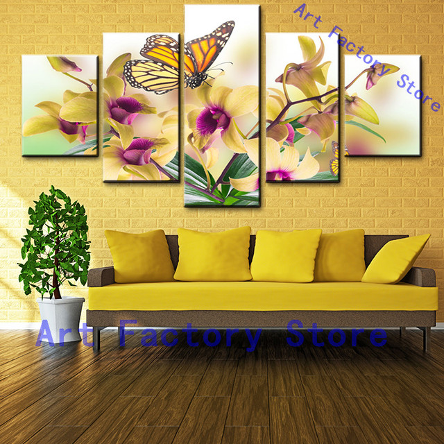 5 Pieces Canvas Units Wall Art Home Decor White Modern Oil Flower ...
