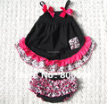 Baby black swing back top ruffle outfit with bloomer diaper cover infant girl swing dress set KP-SW005