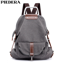 PHEDERA Multipurpose Women Canvas Bags High Quality Female Backpack Rucksack Gray Coffee Teenager Travel Bag 2019 New