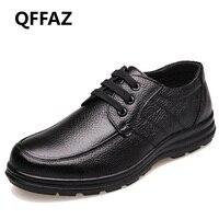 QFFAZ New 2018 High Quality Genuine Leather Shoes Men Flats Fashion Men S Casual Shoes Brand