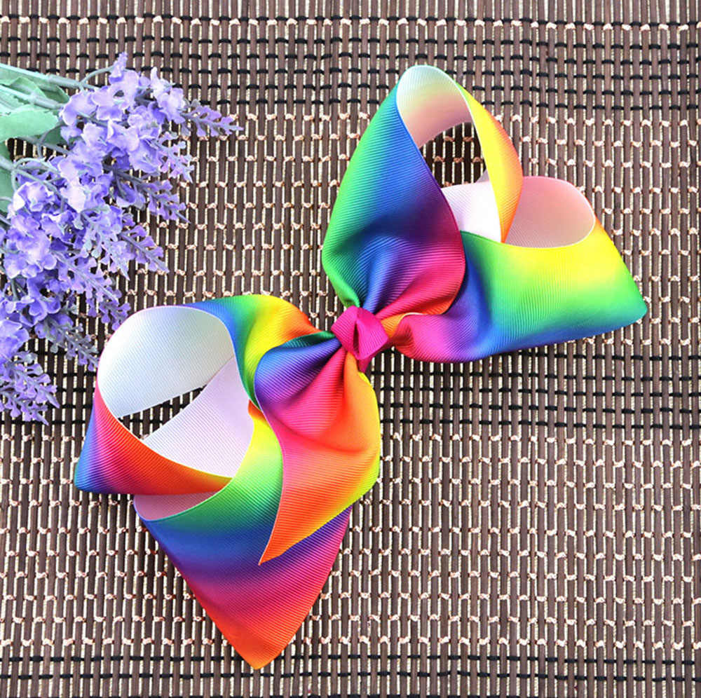 1pc 8 Inch Fashion Handmade Boutique Rainbow New Design Striped Sweet Hair Bow With Alligator Clip Kids Girls Hair Accessories