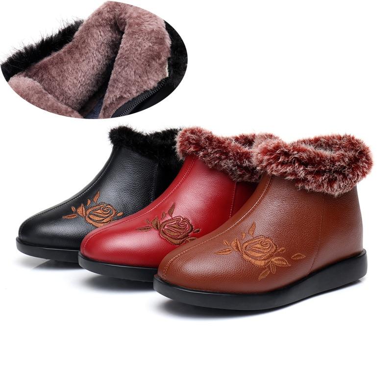 2018 Casuales marrón Botas Mujer Tinto Cuero Terciopelo Negro Antideslizante Vaca Retro Zapatos Mujeres vino Invierno Tobillo De Nuevas Comodidad 4rxwRaq64