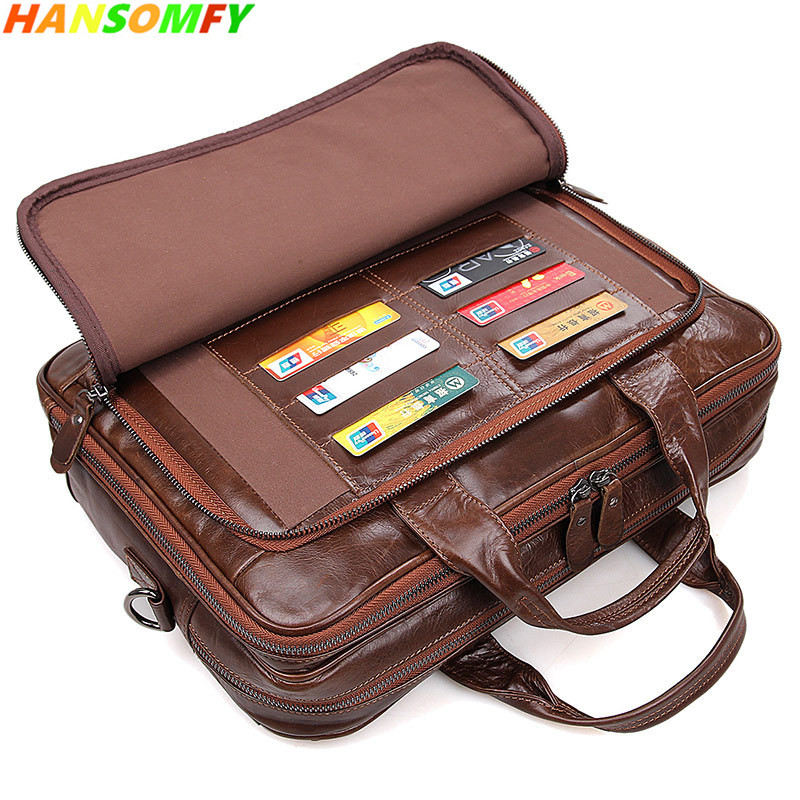 New 100% Genuine Leather Men Business Official Handbag Cross-section Briefcase 15