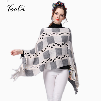 2018 Autumn Winter Women Hollow Plaid Tassels Sweater Ladies Tassels Poncho Long Knitted Pullovers Knitted Cape Coat