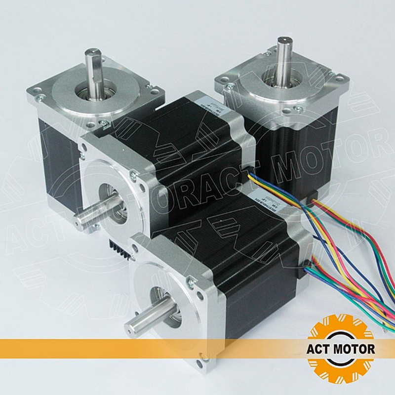 ACT Motor 4PCS Nema34 Stepper Motor 34HS1456 Single Shaft 4-Lead 1232oz-in 118mm 5.6A Power Motor CE ISO ROHS US DE UK JP Free act motor 4pcs nema34 stepper motor 34hs9820 890oz in 98mm 2a 8 lead single shaft ce iso rohs plastic us ca de uk it fr jp free