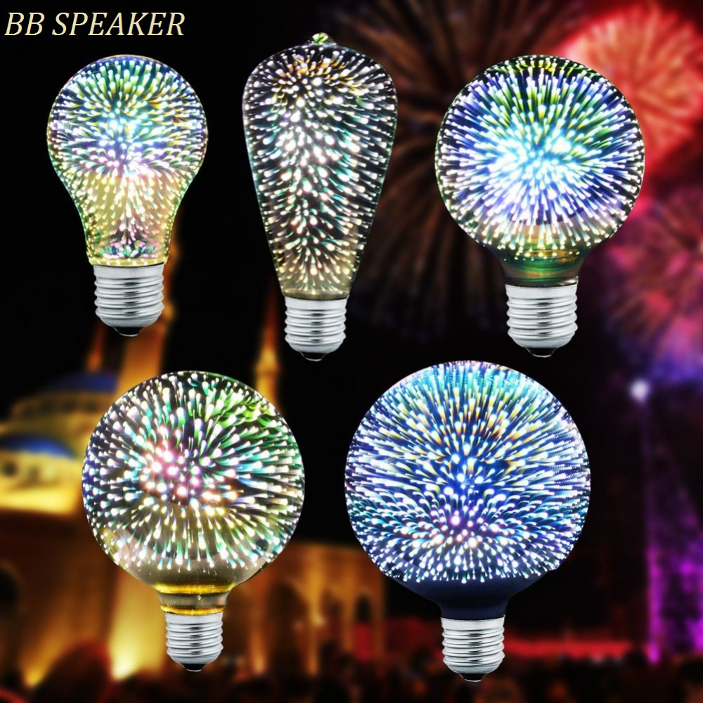 Led Light Bulb E27 3D Decoration Bulb 110V 220V Holiday Lights ST64 G95 A60 G80 G125 Novelty Lamp Christmas Decoration