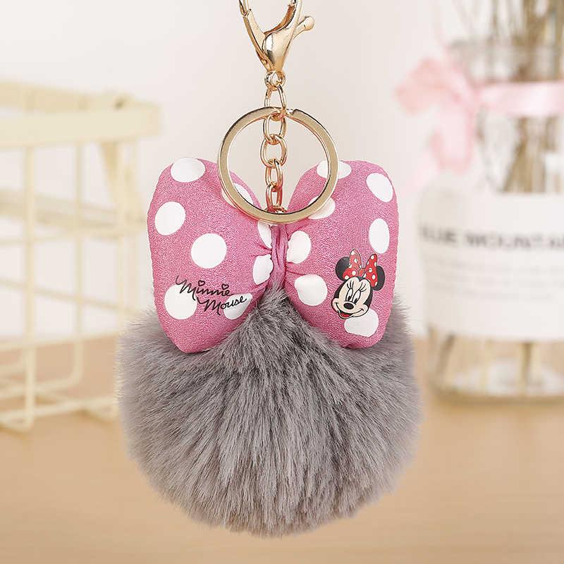 Bonito mickey bowknot coelho bola pompom chaveiro para mulher saco chaveiro chaveiro llaveros chaveiros presente porte cle eh337