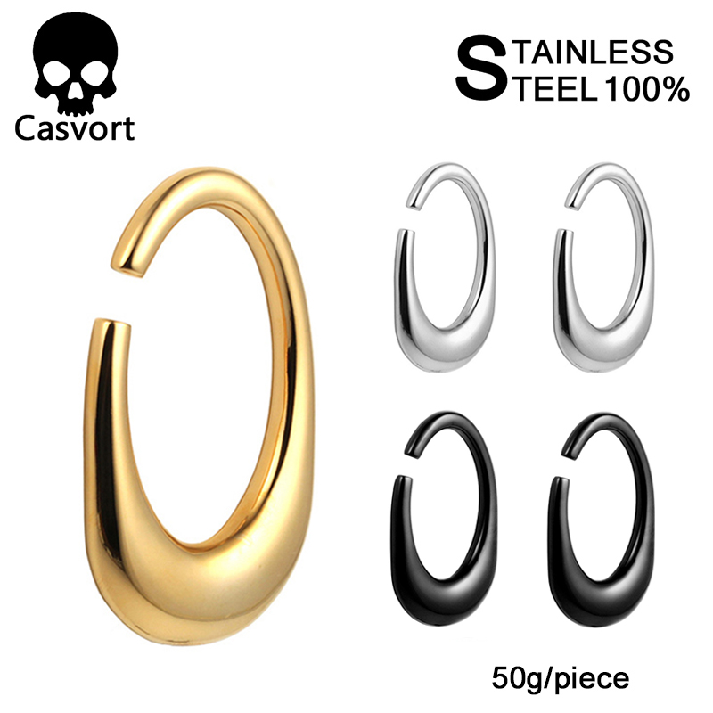 Casvort 2PCS new arrival heavy ear weight 316 L stainless steel ear gauges piercing tunnels body jewelry 2pcs lot pair selling