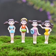Hot 4Pcs/Set Fairy Garden Figurines Miniature Hayao Miyazaki Angel Girls Resin Crafts Ornament Gnomes Moss Terrariums Decoration