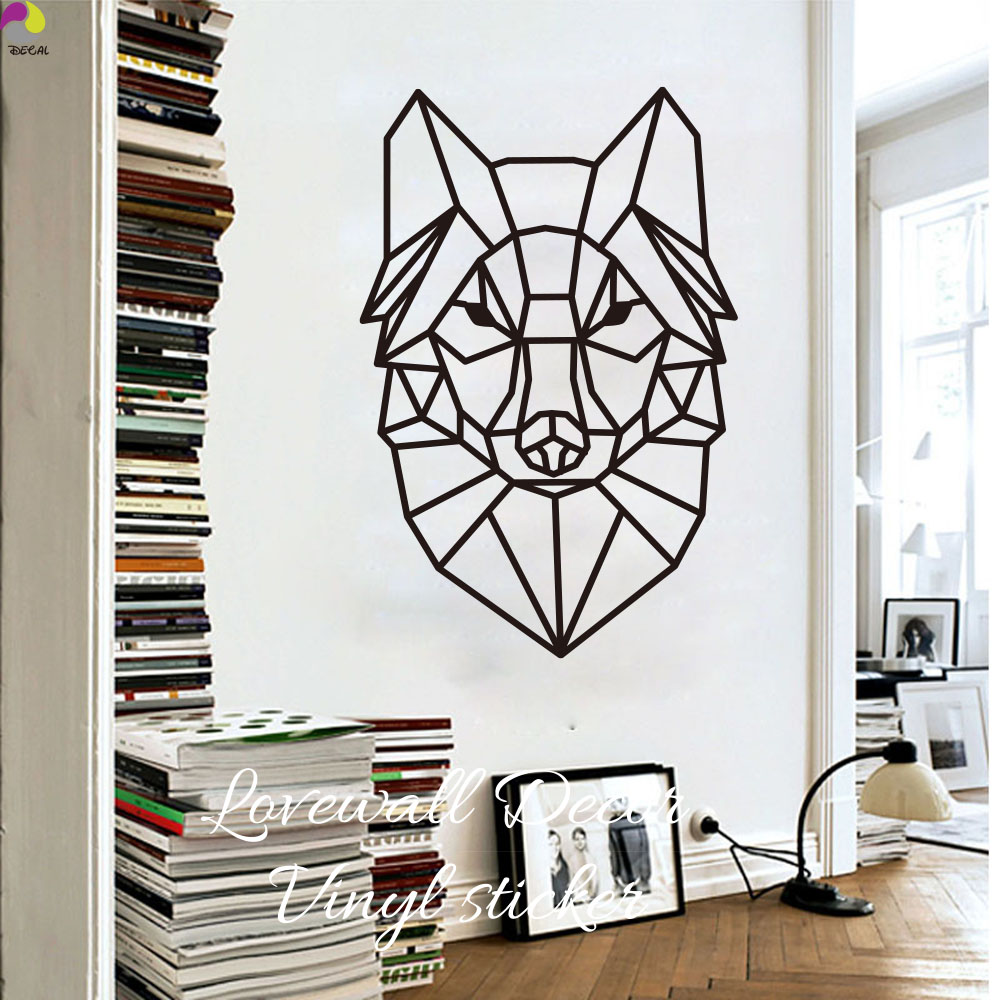 Cartoon Geometric Wolf Wall Sticker Baby Nursery Kids Room Cute Animal Head Wolf Wall Decal Living Room Bedroom Sofa Vinyl Decor ...
