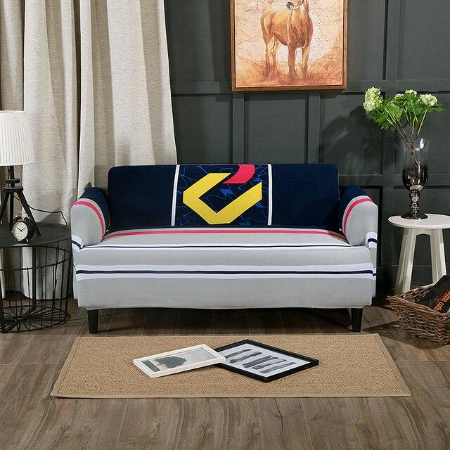 Grau Universelle Elastischen Couch Sofa Abdeckungen Für Wohnzimmer  Polyester Ecksofa Hussen Roten Und Blauen Streifen Schnitts