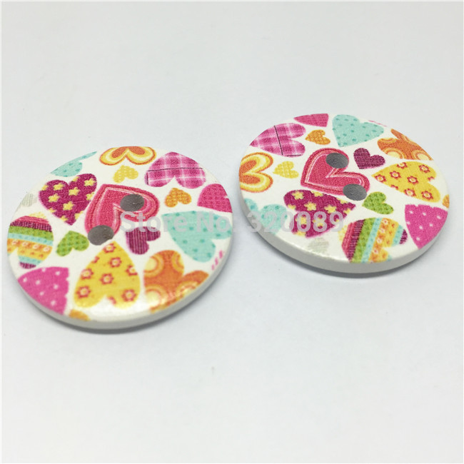 20pcs <font><b>30mm</b></font> Large Wood <font><b>Buttons</b></font> 2 Holes Heart Pattern Sewing <font><b>Button</b></font> Embellishments Cardmaking Scrapbook Bag Decorations image