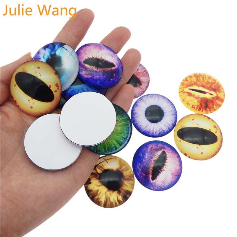 Julie Wang 1 Pair 35/40mm Dragon Cat Eye Pupil Cabochons Flatback Round Glass Necklace Earrings Jewelry Making Accessory(China)
