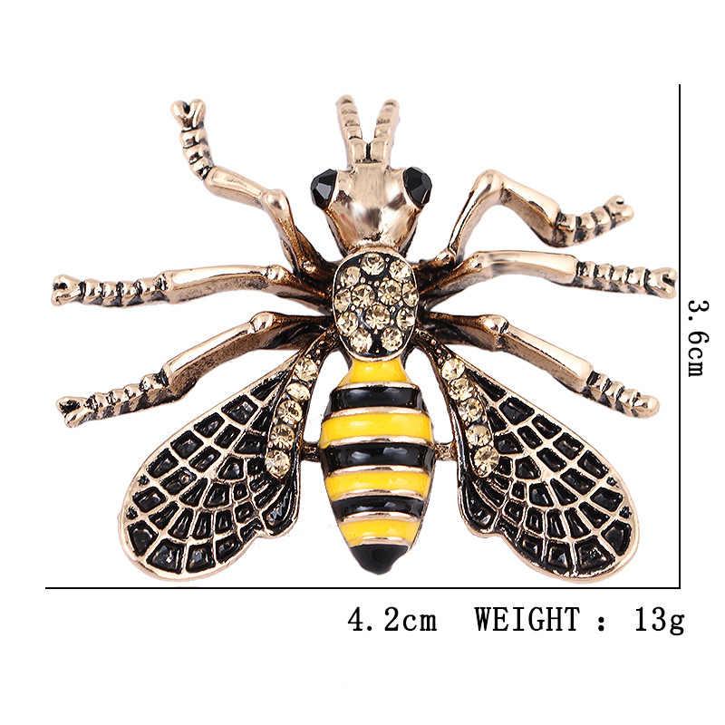 Vintage Flying Bee serangga Bros Wanita Pria setelan pakaian korsase bros Hewan Enamel Kuning Lebah Madu Broche pin perhiasan