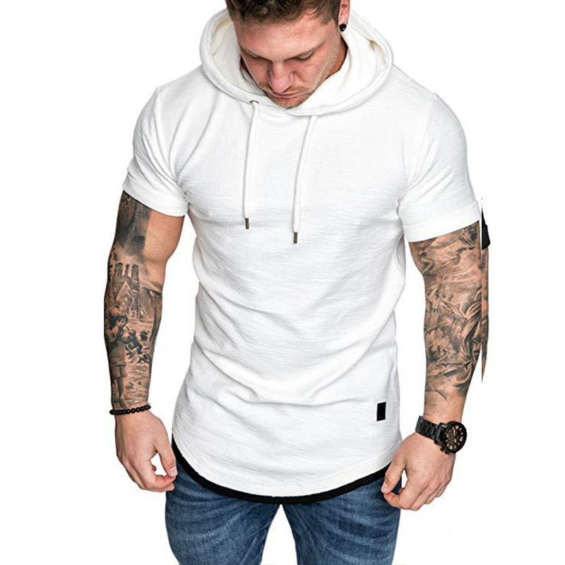 Stylish Men's Casual Hoodie Lace Up White Shirt Hooded Short Sleeve Slim Tops Sport Wear Plus Size Solid Pullover Summer 2019