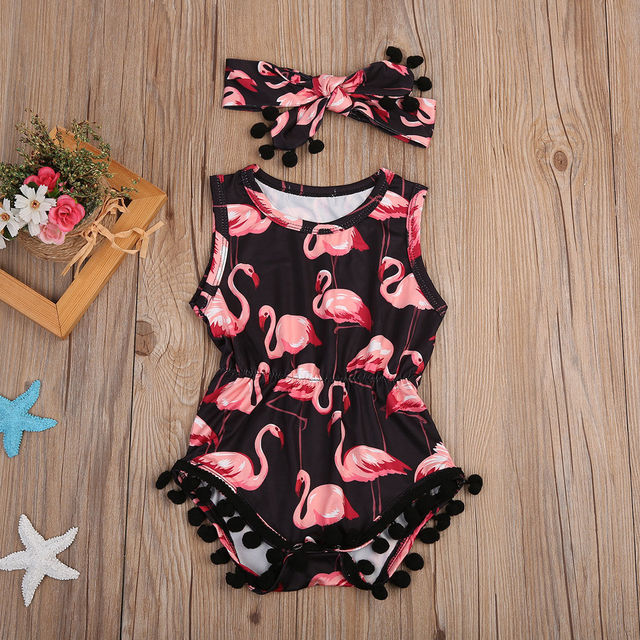 Summer Style Animal Flamingo Romper with Headband Set for Baby Girl