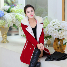 NEW Women's medium-long coat 2016 plus size woolen outerwear autumn and winter large fur collar thickening  woolen overcoat