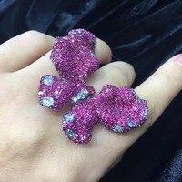 925 Стерлинговое Серебро с кубическим Цирконом бабочка кольцо с регулируемым размером розовый красный цвет Модные женские ювелирные издели