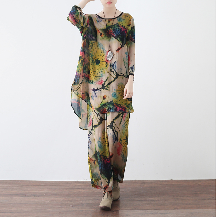 2018 Spring Summer Literature Art Vintage Print Loose Cool Breathable Colorful Comfortable Clothes + Pants Women Sets