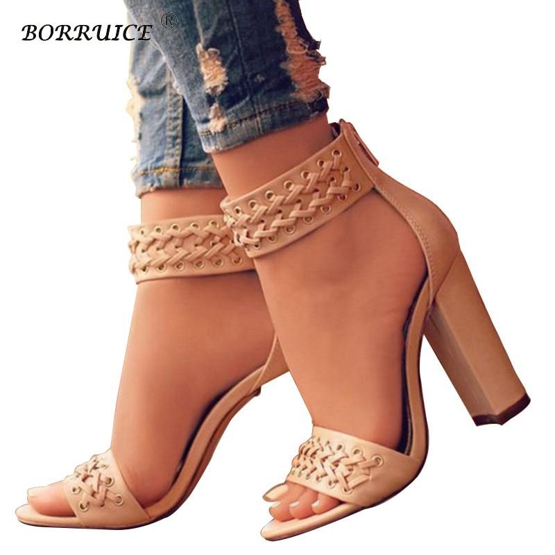 24f85bee2 BORRÃO 2018 Novos Sapatos de Verão Grosso Sandálias Tamanho Grande Super  Sapatos de Salto Alto Mulher