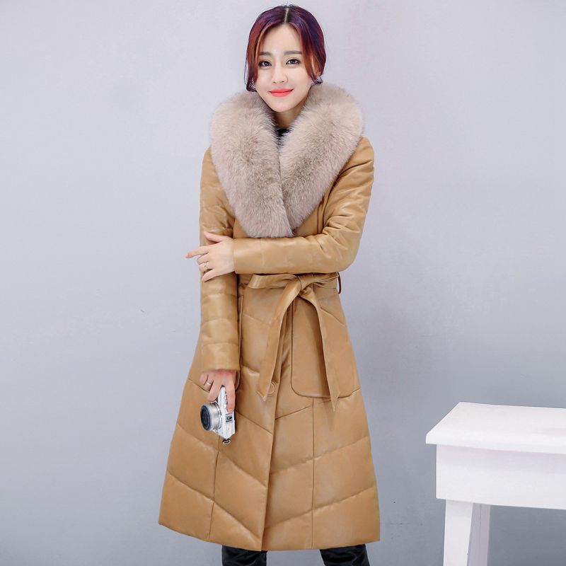 New winter womens down jacket fur leather overcoats maternity winter clothing pregnancy  ...