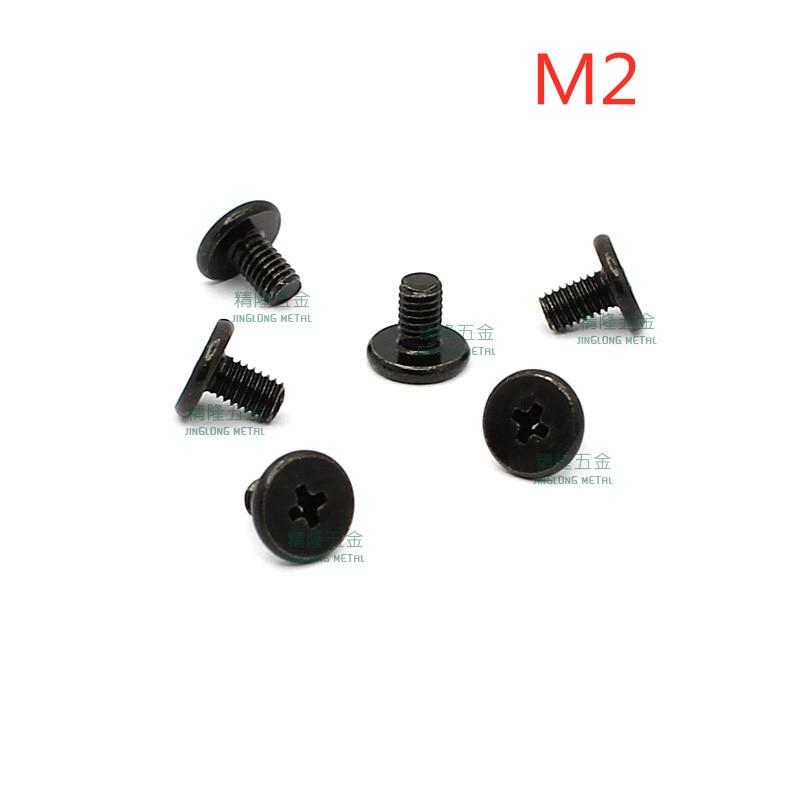 100 cabeça phillips parafuso parafusos laptop M2x2 pçs/lote Fina/2.5/3/3.5/4/4.5/5/6/7/8 CM2 aço zinco preto