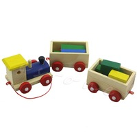 Fun Wooden Kids Baby Developmental Toys Toddler Train Truck Set Geometric Blocks