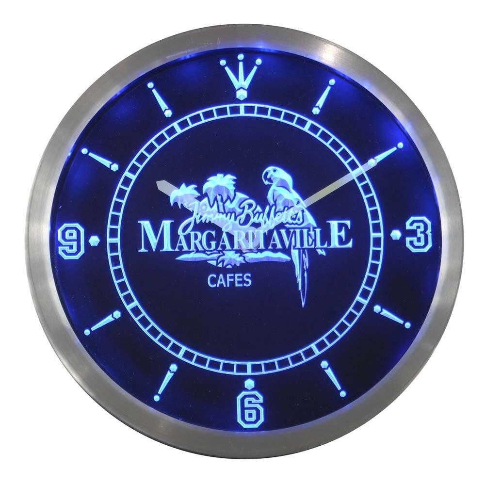Nc0107 Jimmy Buffett Margaritaville Bar Pub Club Beer Neon Light Signs LED Wall Clock