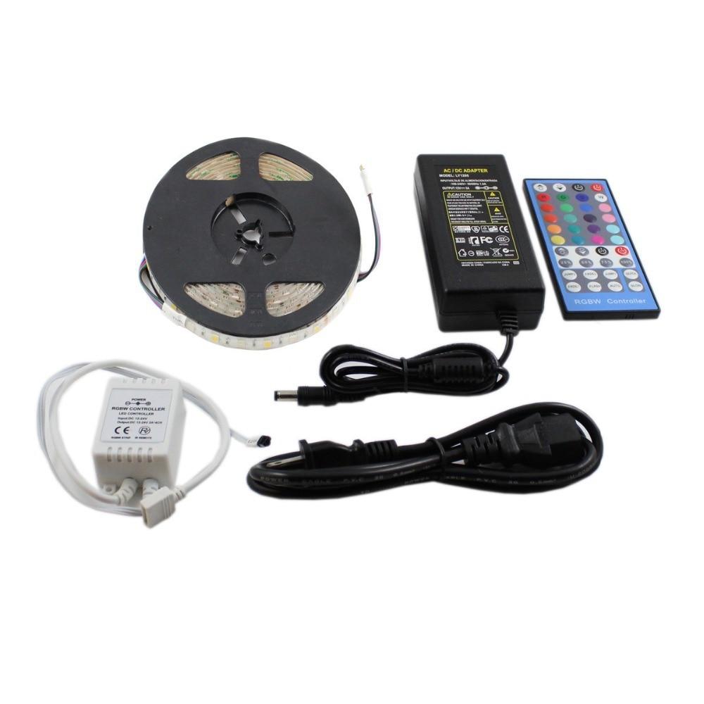 Bandes imperméables SMD 5050 RGBW bande LED flexible lumière 5 M 300 LED s + 40 clé IR rgbw contrôleur + 12 V DC 60 w adaptateur secteur