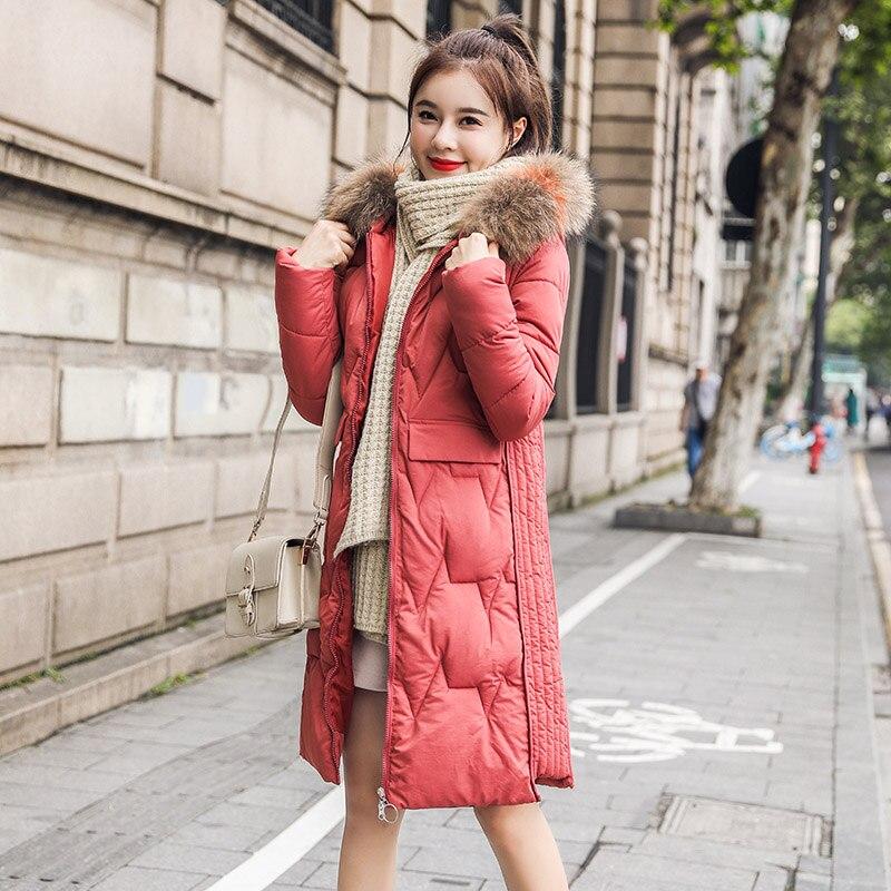 Winter long   parkas   coat 2019 Winter Slim Thicken warm big fur collar jacket coats Casual female winter outwear   parkas   coat