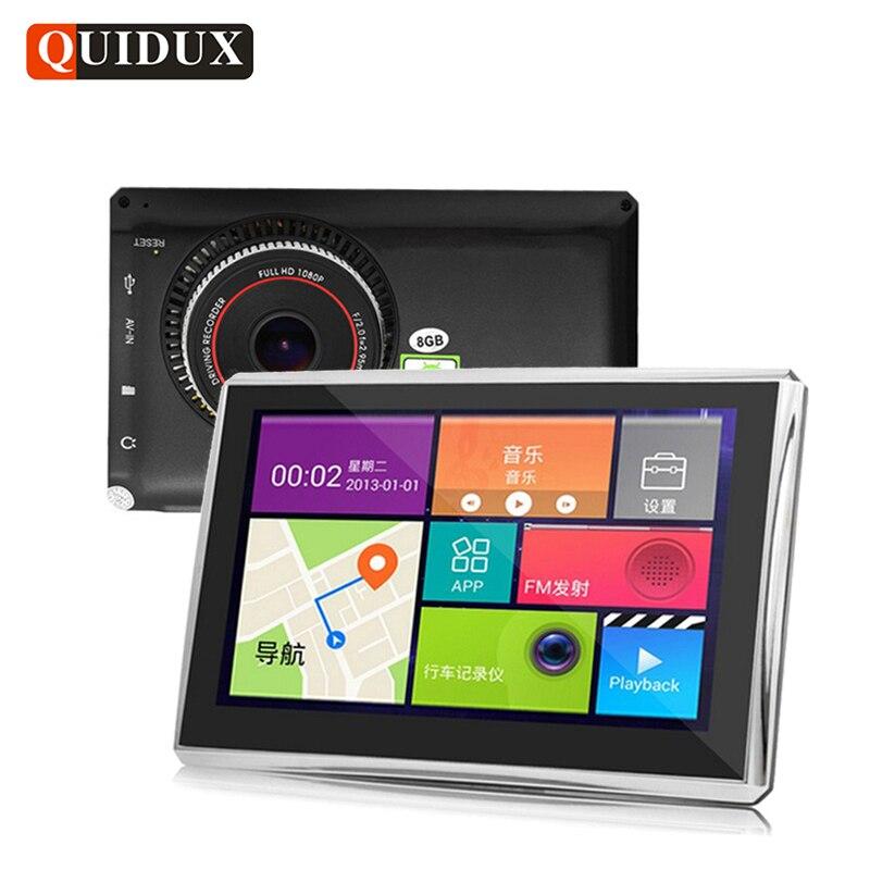 Quidux Видеорегистраторы для автомобилей Автомобильные GPS-навигаторы навигации Android 8 г/512 МБ Wi-Fi Авто Видео Камера Регистраторы с Европа США Ро...