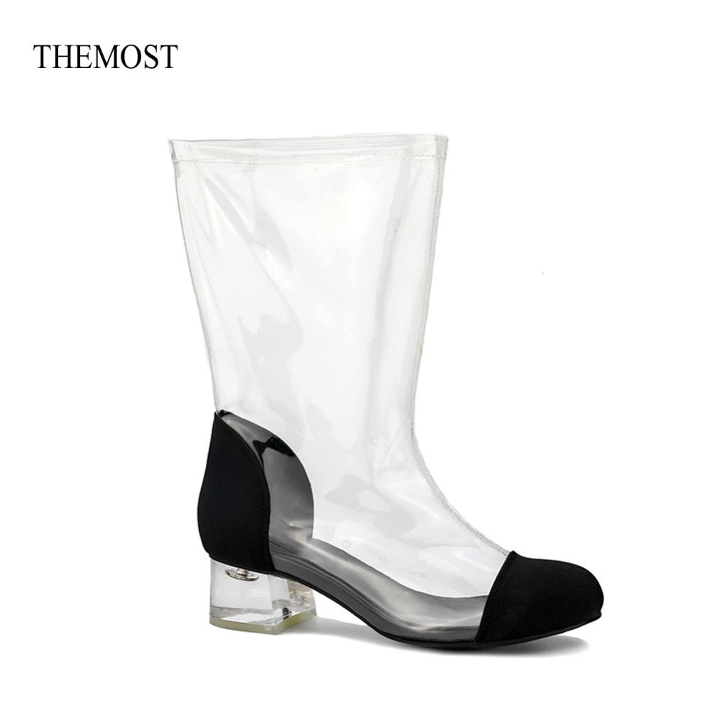 THEMOST Hot Sale New Style Fashion Women Transparent Clear Perspex Almond Toe Lucite Heel Calf Short Boots Shoes timesize women clear heel transparent boots peep toe ankle boots bootie perspex lucite summer shoes sandals block heel pumps