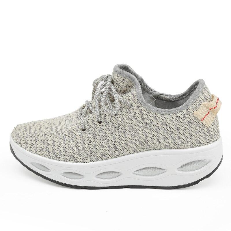 Новинка года; стильные женские кроссовки на платформе; спортивная обувь на танкетке для женщин; дышащая обувь для свинга; обувь для фитнеса; прогулочная обувь - Цвет: QJ-605 Red