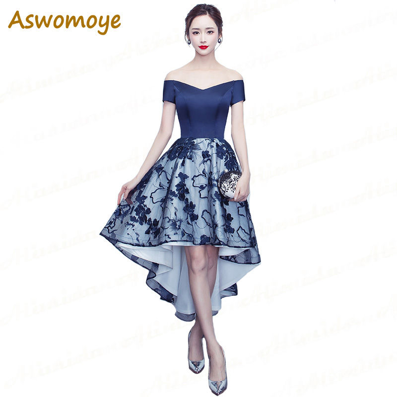 Aswomoye Royal Blue Evening Dress Short Front Long Back Prom Dresses Appliques Lace Party Dress Sexy robe de soiree