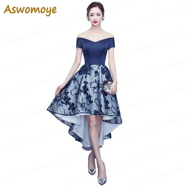 b1887cace27 Aswomoye robe de soirée bleu Royal courte devant longue dos robes de bal  Appliques dentelle robe