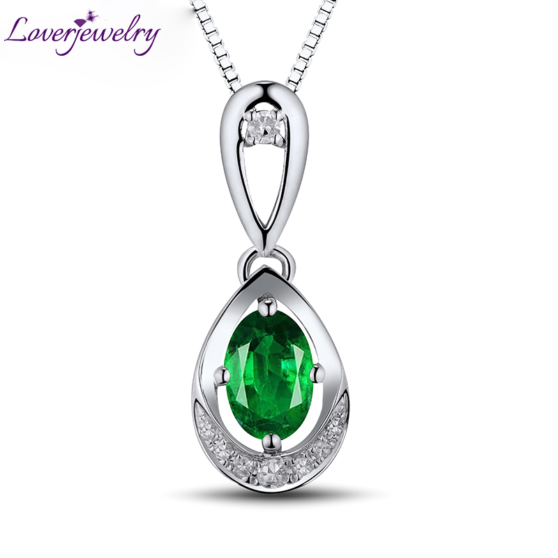 Natural Colombia Emerald Oval 4x6mm 18Kt White Gold Real Diamond Wedding Pendant Fine Jewelry for Women WP054Natural Colombia Emerald Oval 4x6mm 18Kt White Gold Real Diamond Wedding Pendant Fine Jewelry for Women WP054