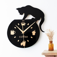 Home Decor Cartoon Lovely Black Cat Fashion Design Popular Round Kitchen Coffee Cup Bean Wall Clock Silent Non-tickingWall Clock