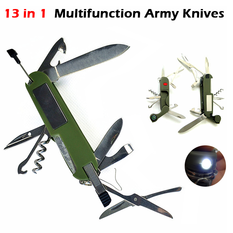 Multifunction Army Knives Outdoor Camping Survival EDC Pockets Tool With LED Light Compass Swiss Folding Knife Stainless Steel