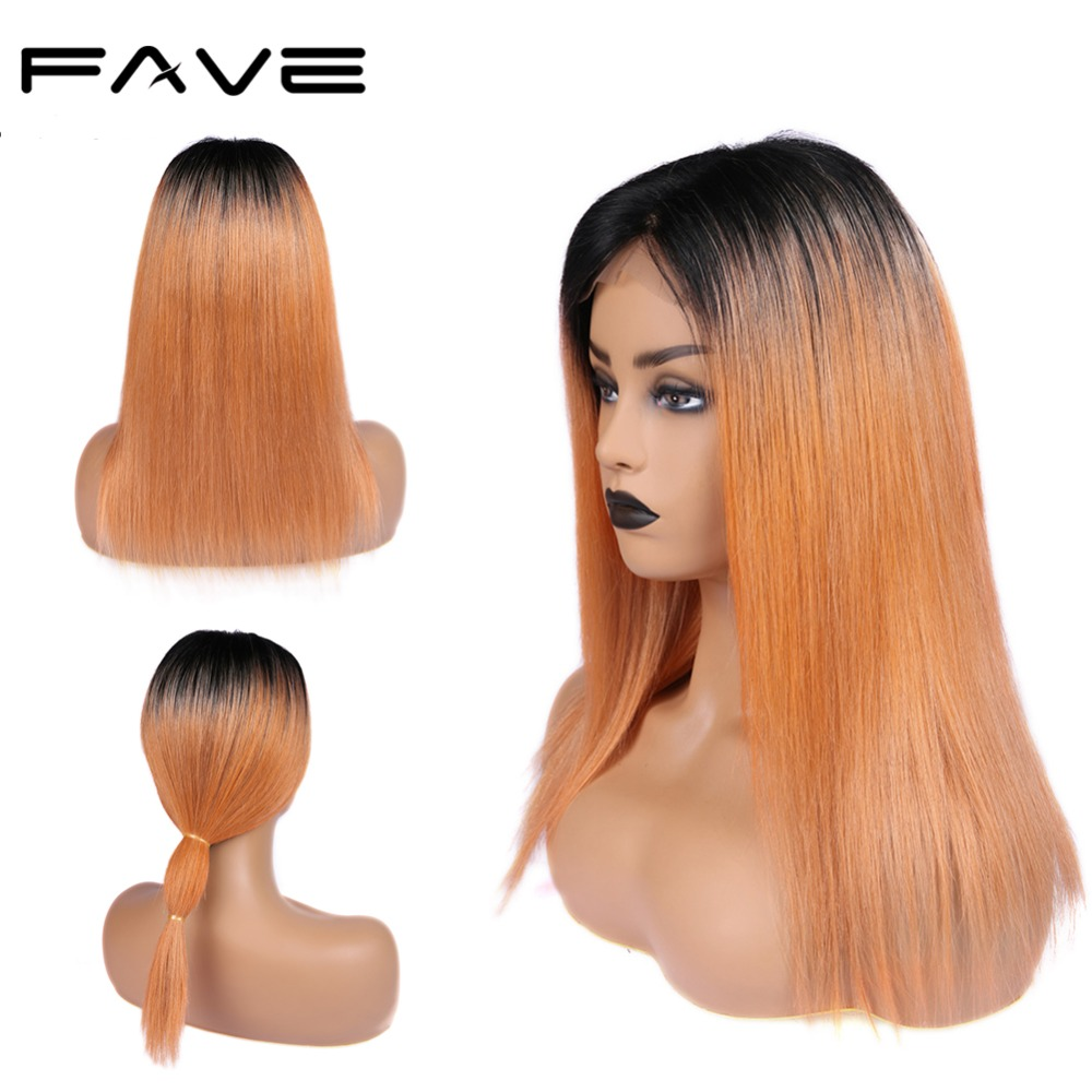 FAVE Hair 4*4 Lace Closure Ombre Wigs Brazilian Remy Straight Human Hair Wigs 150% Density Natural Hairline 1B/Orange Color