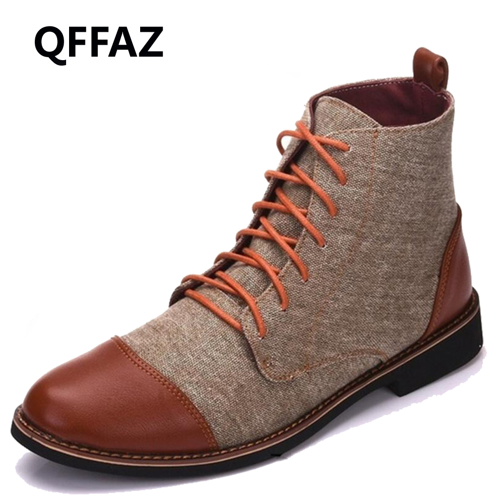 QFFAZ Men Boots Pointed Toe men Oxford Dress Shoes canvas men Casual Shoes ankle boots chaussures men Big Size 39 48