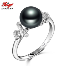 Vintage Real 925 Sterling Silver Pearl Ring for Women Party Jewelry Gifts 8-9MM Black Freshwater Pearl Rings Fine Jewelry FEIGE цены онлайн
