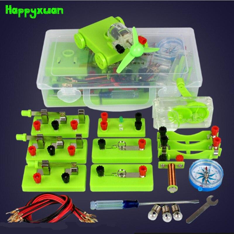 Happyxuan Kits de circuits électriques pour enfants laboratoire scolaire physique expériences électromagnétiques aides pédagogiques Science jouets générateur
