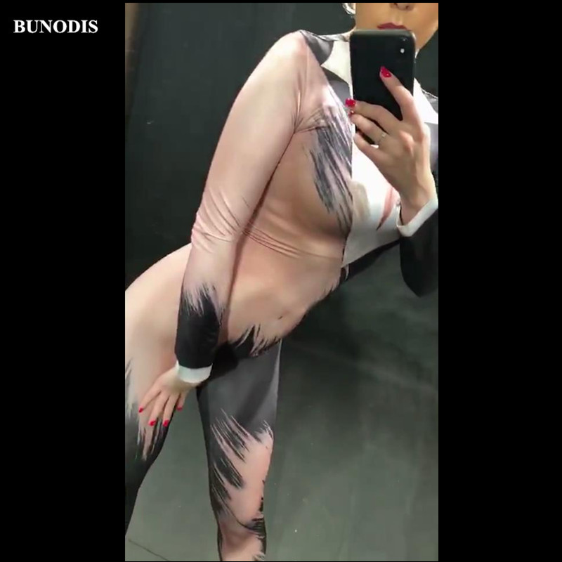 Bu180 Chanteur Vêtements Sexy Performance Porter Body Salopette Impression Partie De 3d Danseur Bureau Discothèque Tenue Femmes Stage rU6wqRr