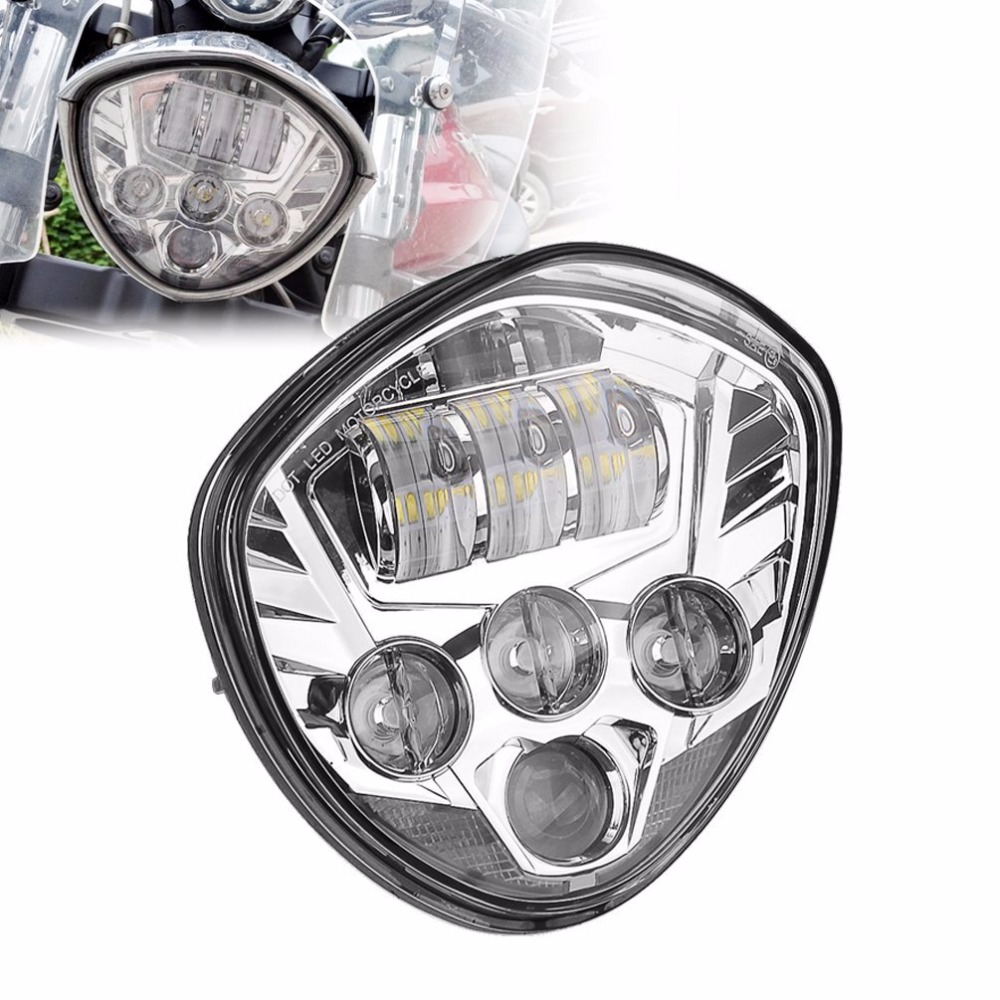 Promption! Motorcycle Led Headlight Head Light accessories LED Hi Lo Headlamp Lighting Black Chrome For Victory
