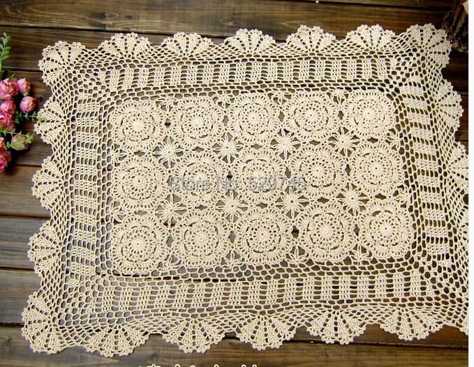 Chrismas Crochet Flowers50x70cm Hollow Table Cloth Rectangular Tablecloth Pastoral Cotton